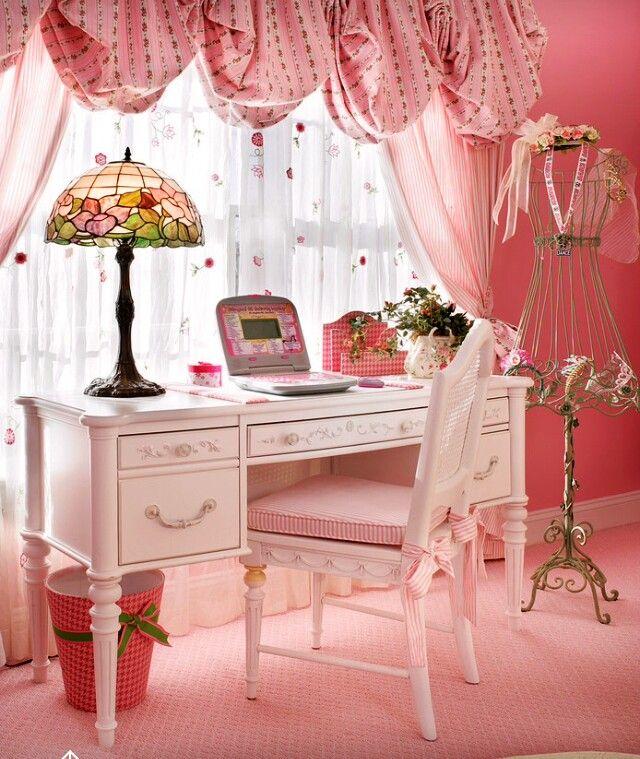 shabby pink desk