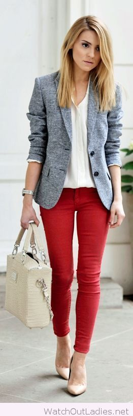 Red pants and gray blazer