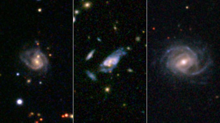 "A strange new kind of galactic beast has been spotted in the cosmic wilderness. Dubbed ""super spirals,"" these unprecedented galaxies dwarf our own spiral galaxy, the Milky Way, and compete in size and brightness with the largest galaxies in the universe.  Three examples of super spirals are presented here in images taken by the Sloan Digital Sky Survey"