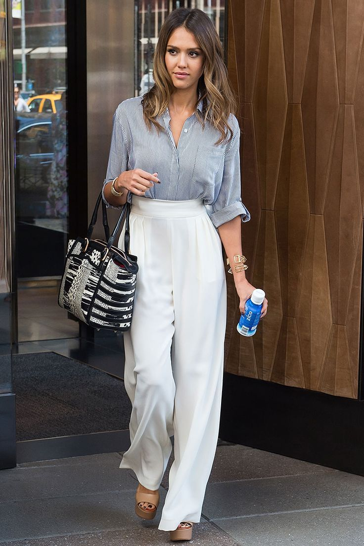 jessica alba white wide legged pants