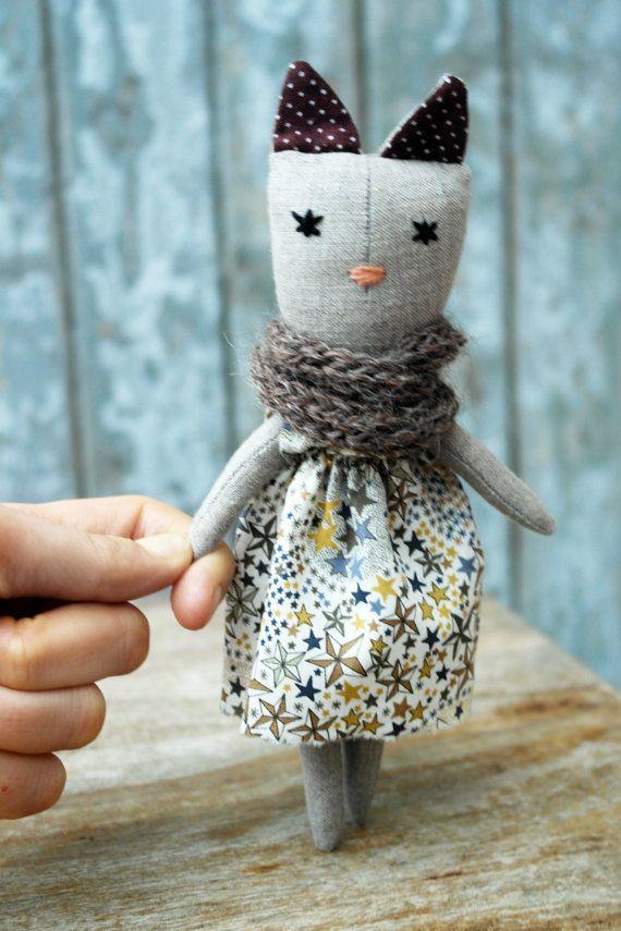 Linen cat doll mini handmade retro one of a by lespetitesmainsS