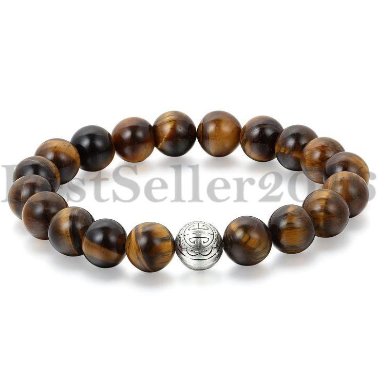 Buddha Armband Armreif Natur Stein Braun Gebet Lava Kugel Perlen Langlebigkeit
