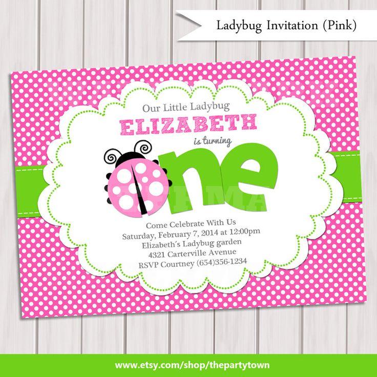 Pink Green Ladybug Invitation / Ladybug Invite / by ThePartyTown, $10.00