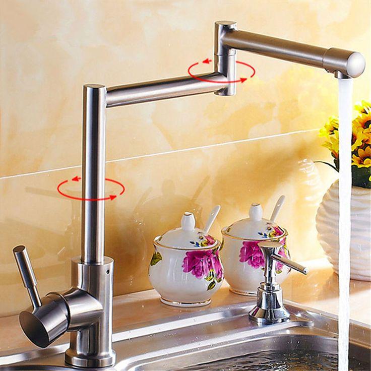 JMKWS Deck Mount Kitchen Faucet Single Handle Kitchen Faucets Folding Vessel Sink Mixer Tap Stainless Steel Flexible Water Taps