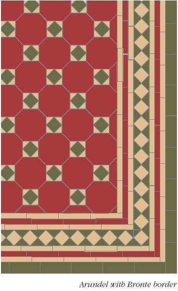 Arundel pattern with modified Bronte border in Red, Green and Buff - Google Search