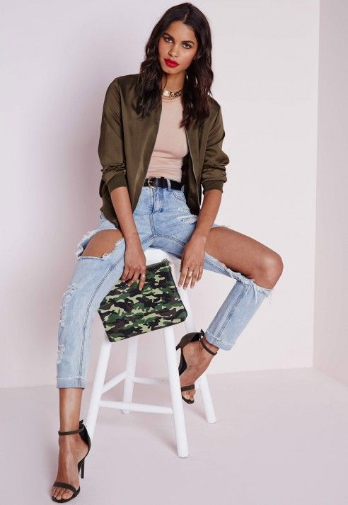 blouson aviateur soyeux vert kaki vestes et manteaux blousons aviateurs missguided. Black Bedroom Furniture Sets. Home Design Ideas