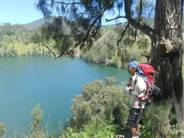 My man at Ranukumbolo lake, Semeru mountain the highest mountain in Java Island Indonesia