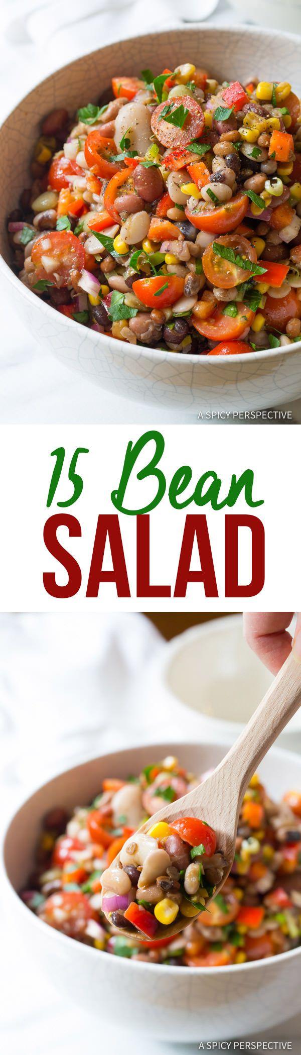 Fresh Healthy 15 Bean Salad Recipe | ASpicyPerspective.com