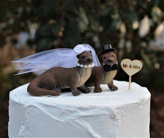 River Otter Wedding Cake Topper, Bride-Groom-Animal-Wooden Raft-Water-Wildlife-