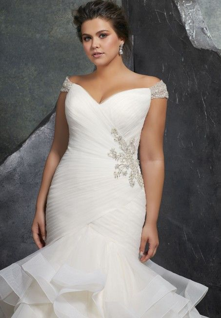 11e716f7 Mori Lee 3237 Kori Off-The-Shoulder Trumpet-Style Bridal Dress in ...