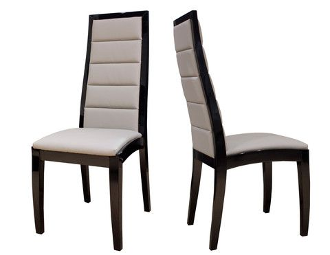 The Venus Chair is a beautiful modern tall seat back dining chair. With rectangular details in the front and back, this dining chair epitomizes contemporary style with its blend of lacquer or wenge wood and bonded leather. Simple, yet elegant.  Available in:  Black lacquer and gray leather White lacquer and light grey leather Wenge and White leather