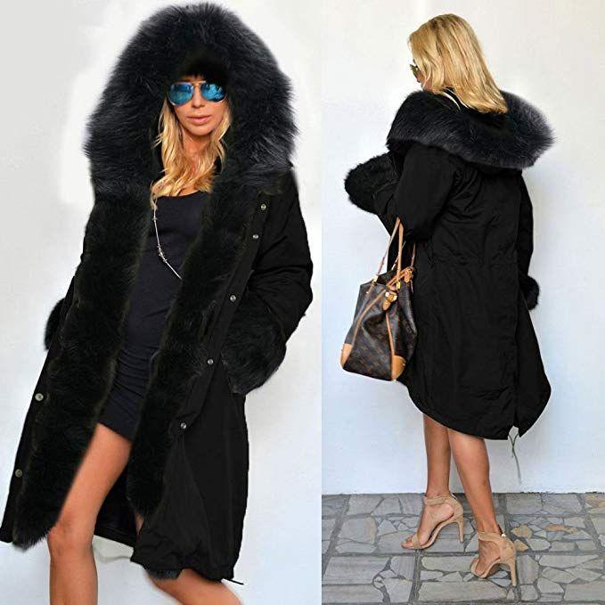 Womens Plus Size Warm Winter Loose Faux Fur Parka Coat Overcoat Long Sleeve Jacket Outwear Luxury Party