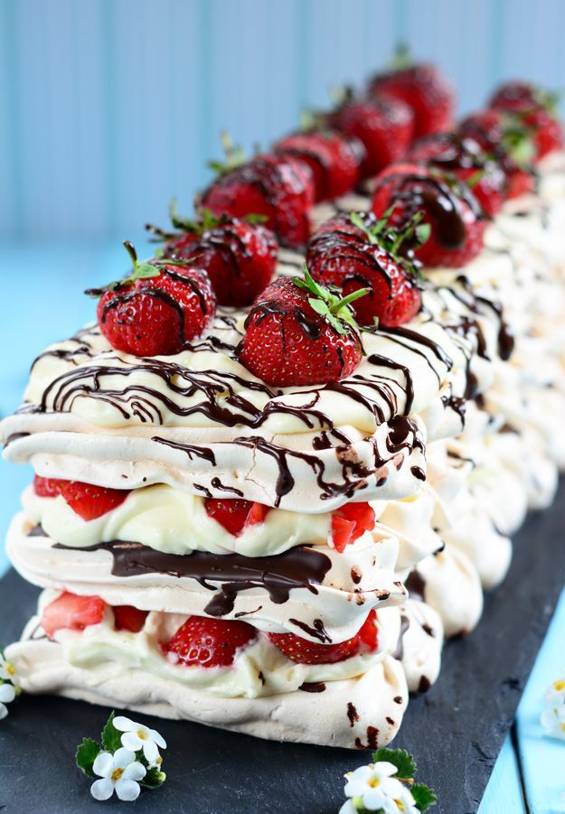 This simple but delicious dessert of Strawberry and Chocolate Meringue is summer on a plate.