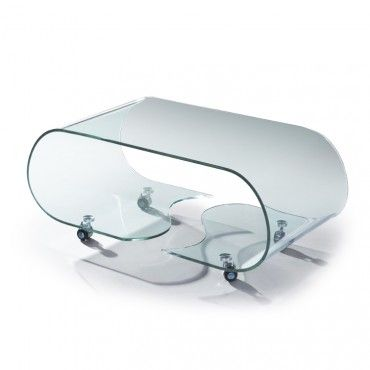 This Modern Coffee Table Is Made Of A Single Piece Of Clear Bent Tempered  Glass. There Is A Shelving Space Under The Coffee Table Top, It Is Also  Equipped ...