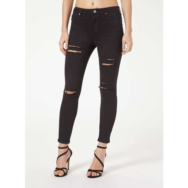 Miss Selfridge LIZZIE Black Distressed Jean ($70) ❤ liked on Polyvore featuring jeans, black, super skinny jeans, ripped jeans, miss selfridge, skinny leg jeans and destruction jeans