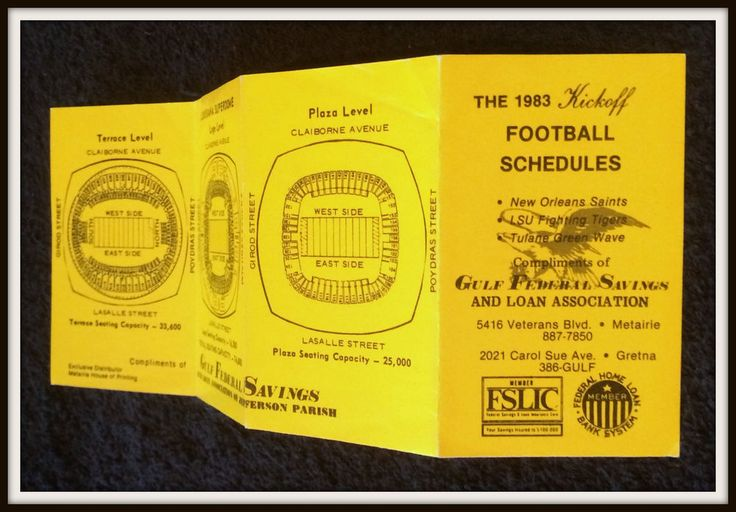 1983 NEW ORLEANS SAINTS LSU TULANE FOOTBALL POCKET SCHEDULE FREE SHIPPING #Pocket