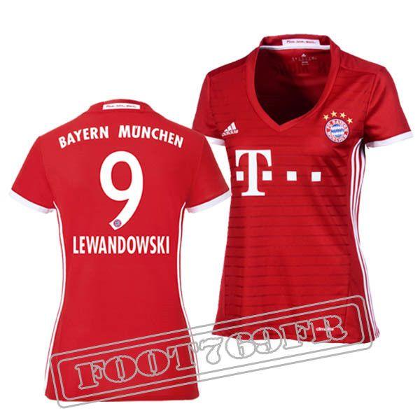 Promo Maillot Du Lewandowski 9 Bayern Munich Femme Bordeaux/Blanc 16/17 Domicile : Bundesliga