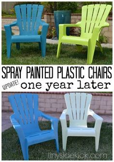 can you spray paint plastic adirondack chairs! read her blog to see which paint did not fade after a year. good to know!!