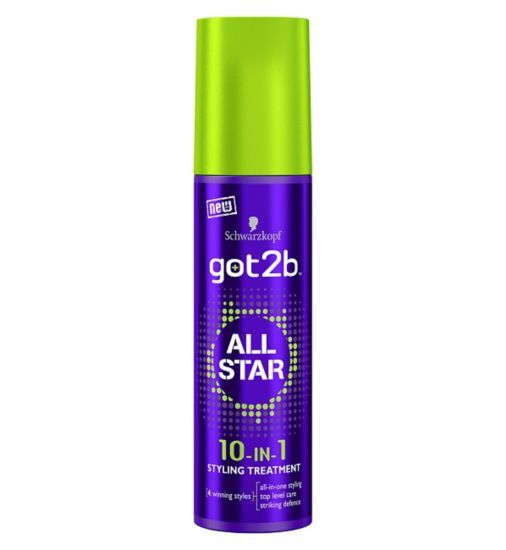 Schwarzkopf got2b All Star 10-In-1 Styling Treatment 100ml. Delivers:  1. Shine  2. Fullness  3. Strength  4. Thickness  5. Smoothness  6. Suppleness  7. Protection  8. Anti-frizz  9. Anti-humidity  10. Shape