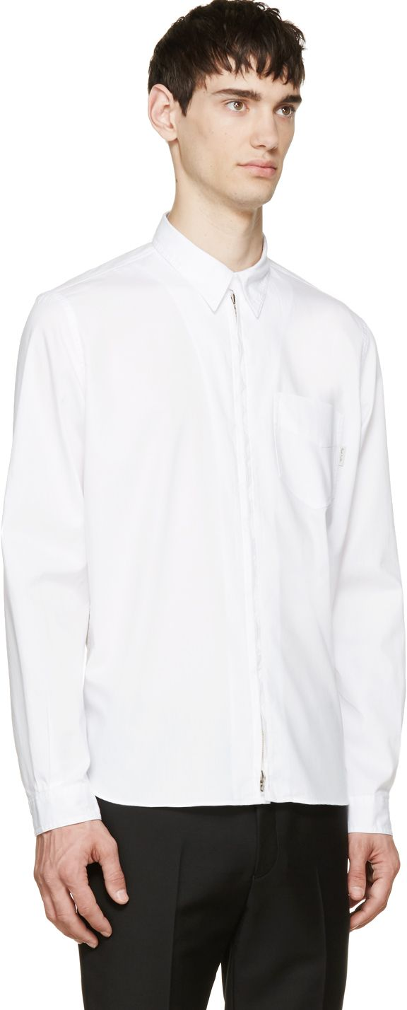Paul Smith Jeans White Zip-Up Oversized Shirt