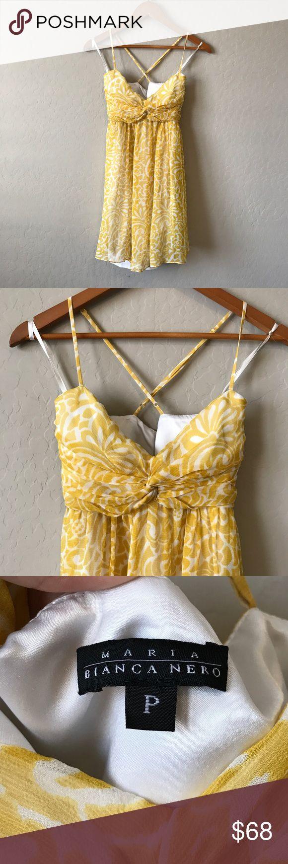 Maria Bianca Nero yellow print silk dress From Nordstrom. Yellow print with cross cross back straps! Beautiful! bianca nero Dresses