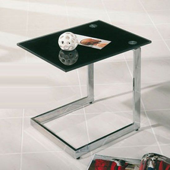 Stylish Yolander Side Table In Chrome With A Black Tempered Glass Top .This  Design Gives