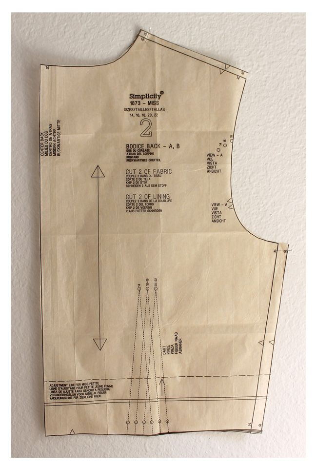 Sewing Pattern Size Adjustments - cutting a different size for armhole and shoulder/bust.