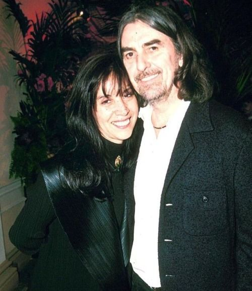"#OliviaHarrison and #GeorgeHarrison at David Gilmour's 50th birthday party, London, 23 March 1996. Photo: REX. ""'We talked to him for about four or five hours on and off, he was so lovely, he was very nice to me and very complimentary and was a..."