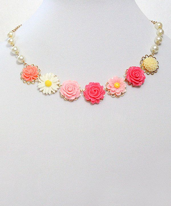 Look at this Charlotte Rose Couture Pink & Yellow Cabochon Flower Necklace on #zulily today!