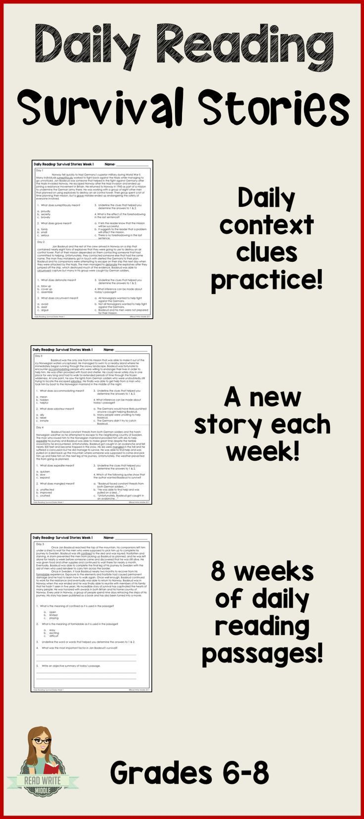 Two daily opportunities for context clues practice plus another reading comprehension question for each passage. 40 passages in all! Great test prep! Context clues, central idea and inferencing practice. Great for warmups or bellringers!