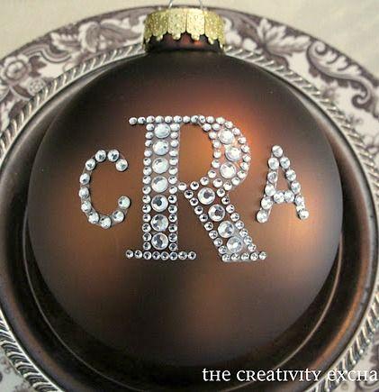 Make monogrammed Christmas ornaments using rhinestone sticker letters.