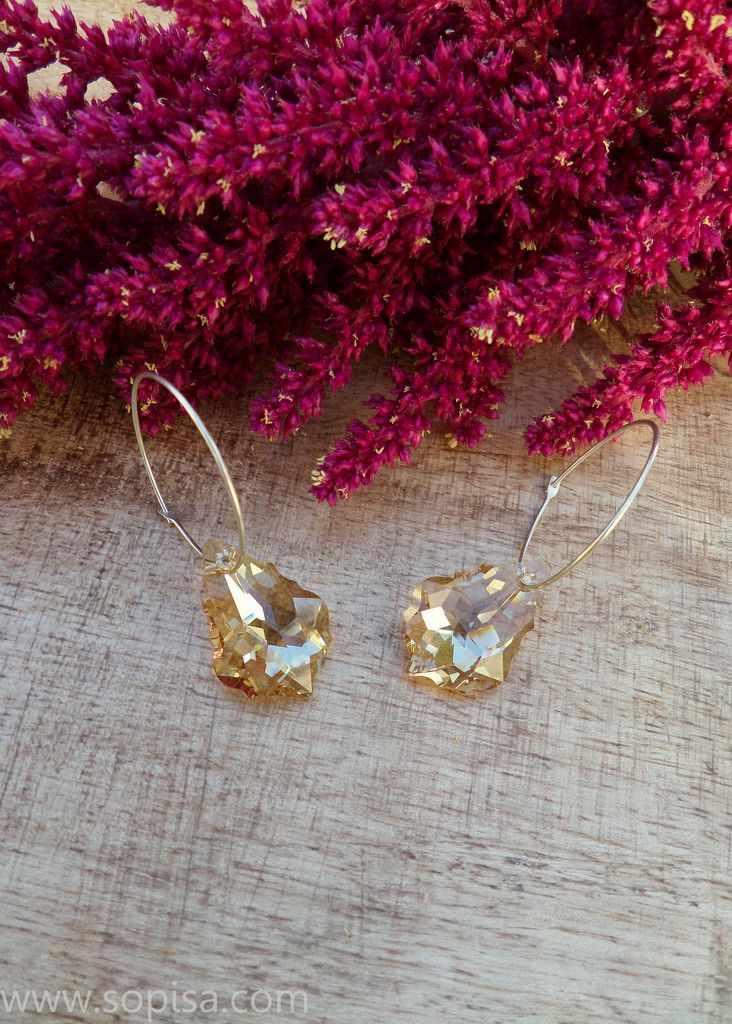 Sterling Silver Earings With Swarovski Crystals - Sopisa