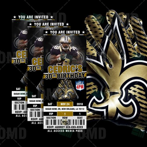 New Orleans Saints Ticket Style Sports Party Invites