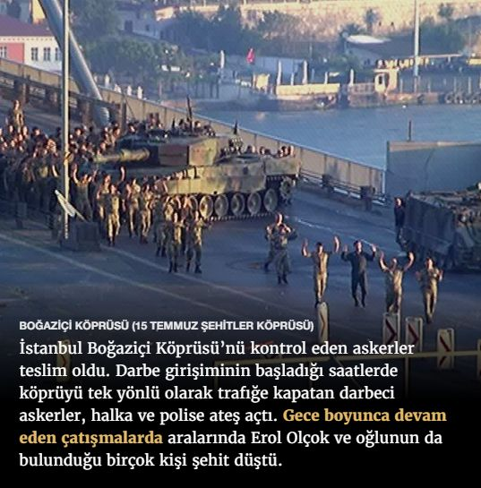 #15Temmuz Saat: 06:20 (Cumartesi)  BOĞAZİÇİ KÖPRÜSÜ (15 TEMMUZ ŞEHİTLER KÖPRÜSÜ)  İstanbul Boğaziçi Köprüsü'nü kontrol eden askerler teslim oldu. Darbe girişiminin başladığı saatlerde köprüyü tek yönlü olarak trafiğe kapatan darbeci askerler, halka ve polise ateş açtı. Gece boyunca devam eden çatışmalarda aralarında Erol Olçok ve oğlunun da bulunduğu birçok kişi şehit düştü.