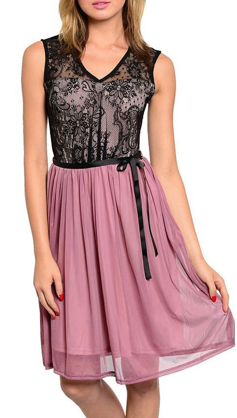 Pink & Black Lace Sleeveless Dress
