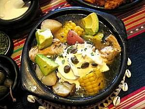 Ajiaco, Colombia chicken, potato, corn and avocado soup