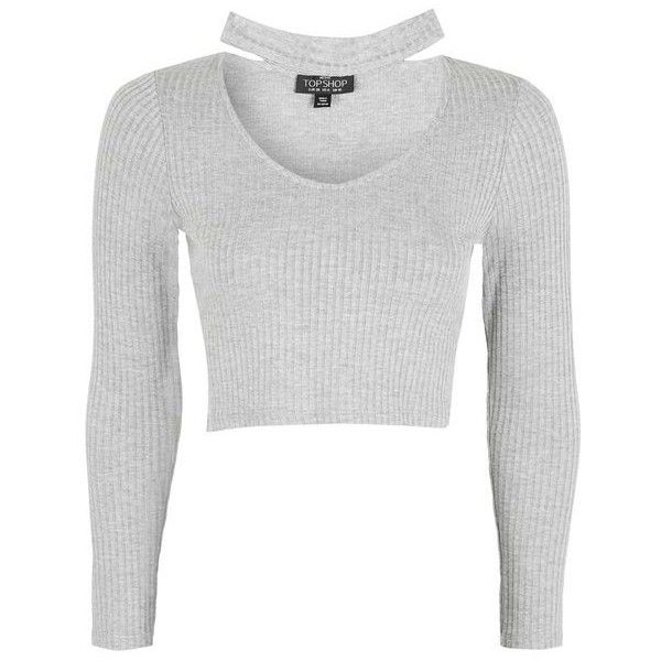 Topshop Petite Long Sleeve Choker Crop Top ($17) ❤ liked on Polyvore featuring tops, petite white tops, rayon tops, topshop tops, viscose top and long sleeve crop top