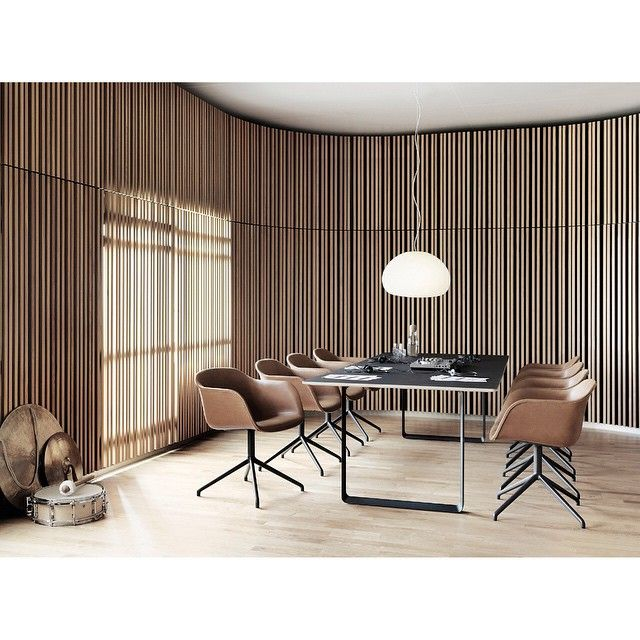 Muuto meeting room with warm colours and smooth materials. The wooden panels and the leather of the FIBER chairs play together in sweet harmony. via muutodesi
