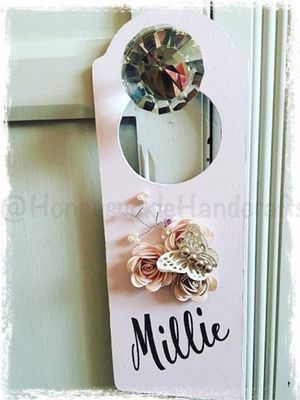 Personalised nursery childrens bedroom shabby chic door hanger