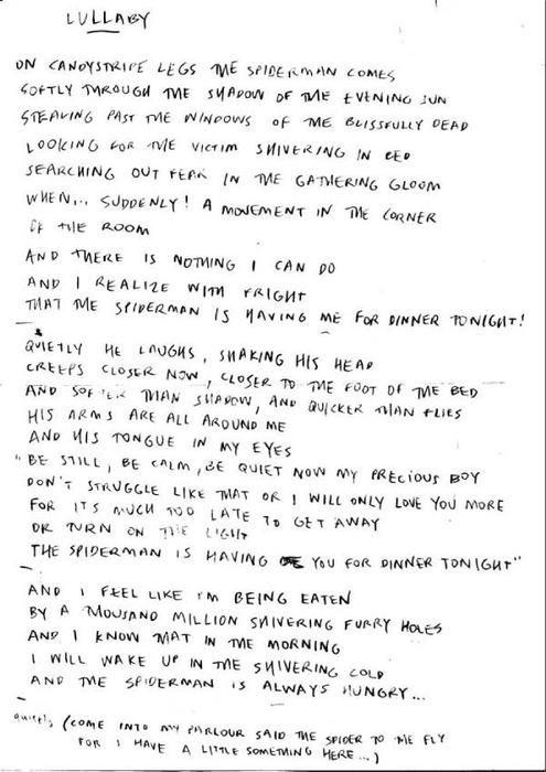 Robert Smith's hand written lyrics to 'Lullaby'