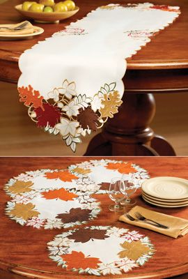 Maple Leaf Embroidered Fall Table Linens In Our Catalog: Maple Leaf Linen Set Item #96471 $12.99 - $14.99