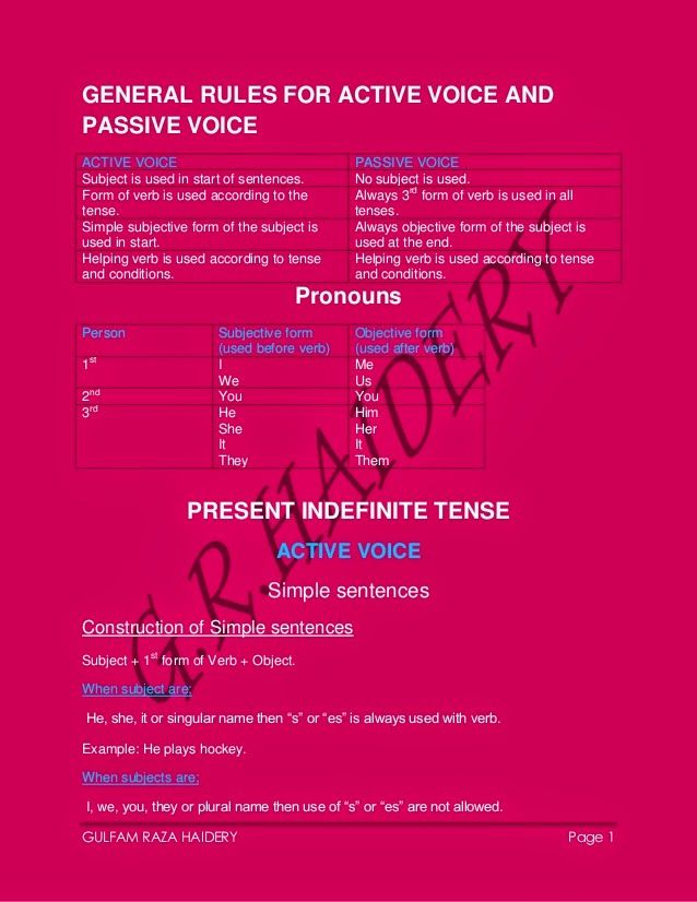 english grammar active and passive voice rules pdf