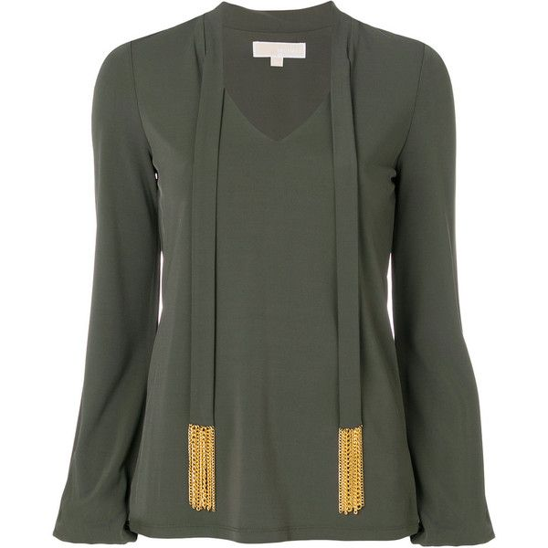 Michael Michael Kors embellished tie-front blouse ($200) ❤ liked on Polyvore featuring tops, blouses, green, loose blouse, tie front blouse, long sleeve blouse, sparkly tops and green long sleeve blouse