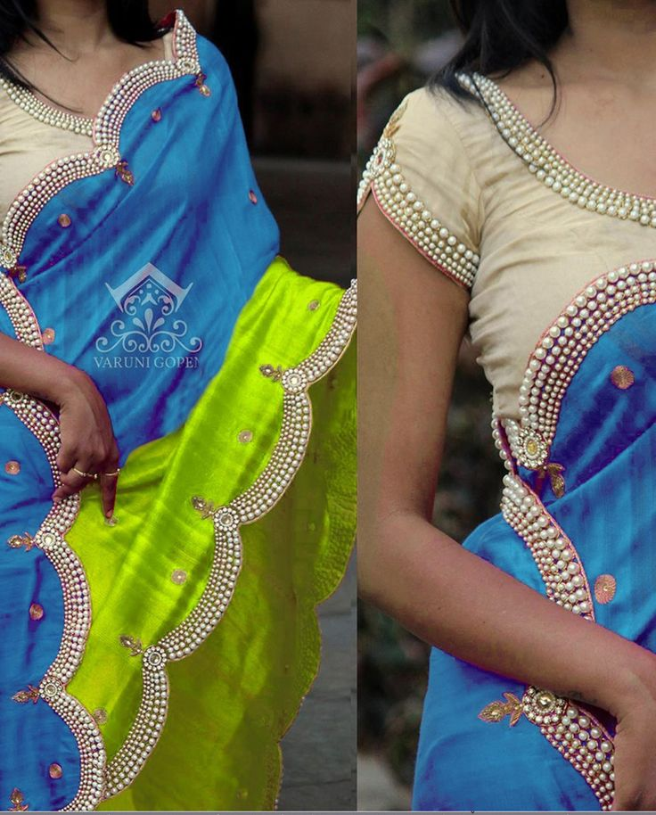 1. Fluorescent green and blue Nylon Silk sari 2. Highlighted with scalloping border done with pearl handwork and zari work 3. Cream raw silk semi stitched blouse with bead work