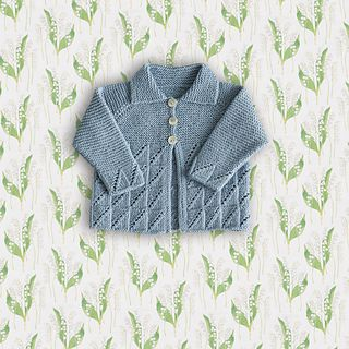A cardigan, with a diagonal eyelet lace box stitch on the body and cuffs and garter stitch bodice, sleeves and collar, is worked in pieces and seamed.