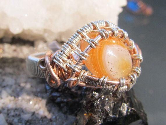 Orange Dream Sickle Agate  Sterling silver on by DivineTreasurestc, $108.00