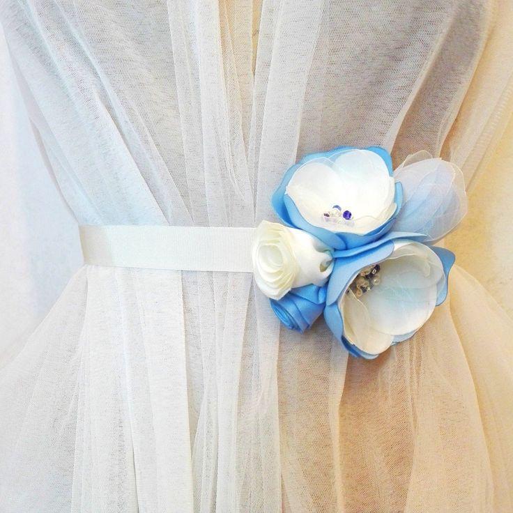 Bridal Flower Sash in Ivory and Blue, Wedding Flower Belt by AnaManoleAtelier on Etsy