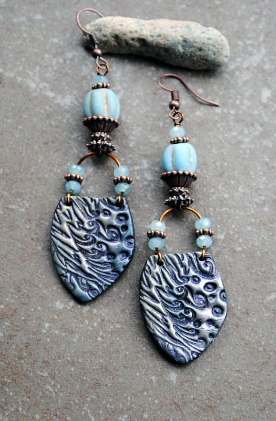 Rustic Earrings Bohemian Earrings Artisan polymer clay
