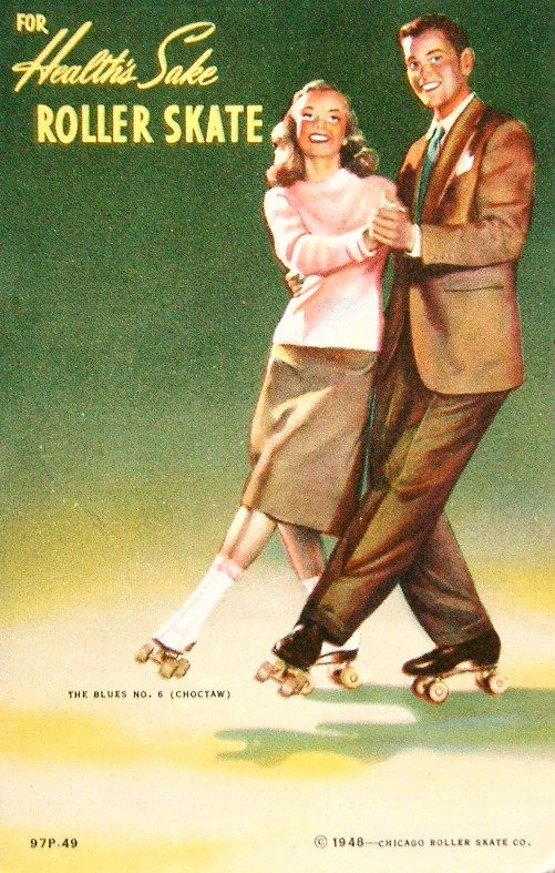 Here is an advertisement encouraging folks to go out roller skating, a fad that was popular in the early 1900s and enjoyed a resurgence in the 1940s. This design could be personalizedfor your local rink by using a rubber stamp or label identifier on the back.