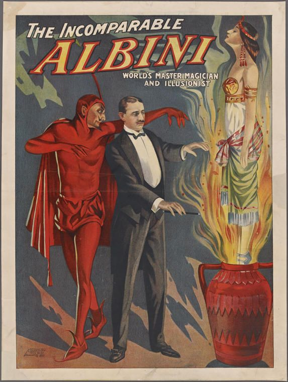 Herbert Albini - If you learned anything from these posters, it's that the devil owns a lot of magicians' souls. The accomplished illusionist chose his surname after the musician, Frederick Baxter Ewing, who went by Lieutenant Albini. Ewing was apparently not too pleased, because he threatened to sue over the name and publicly disassociated himself from the magician.